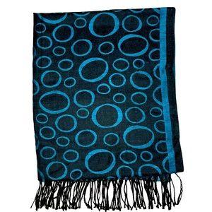 Pashmina Scarf Shawl Wrap Blue Circles